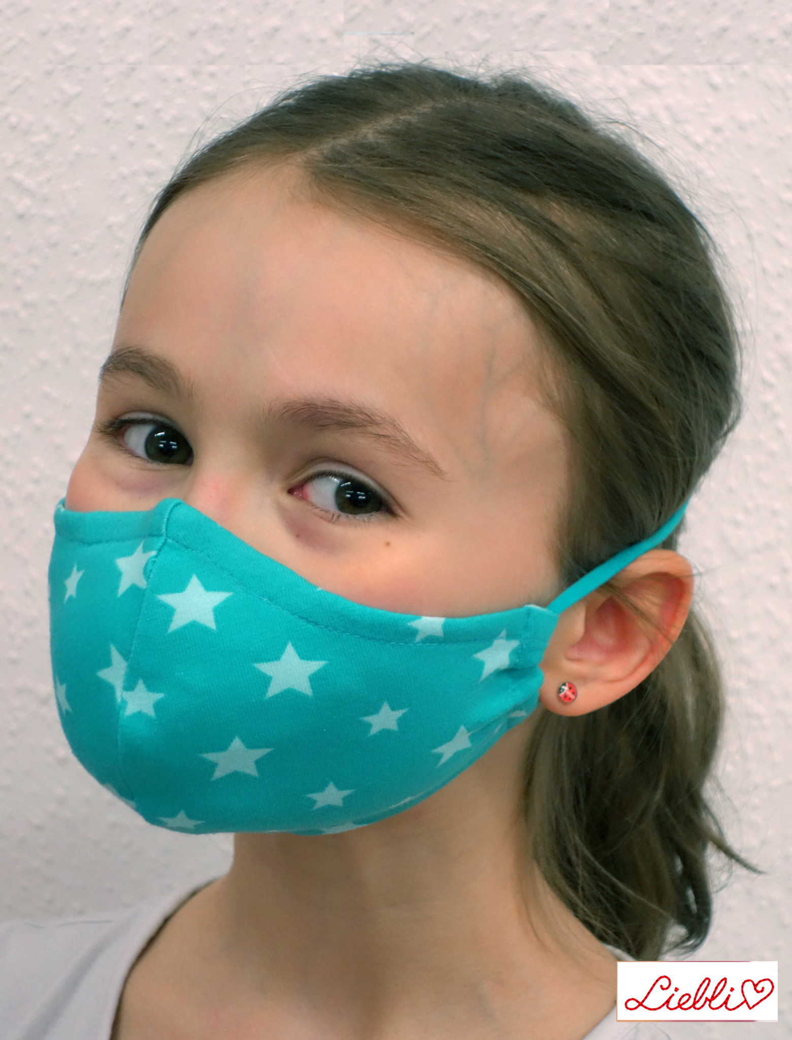Kindermaske, Kinder Mundschutz, Mund-Nasen-Maske Sterne türkis (auch für Erwachsene)