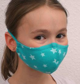 Kindermaske, Kinder Mundschutz, Mund-Nasen-Maske Sterne türkis