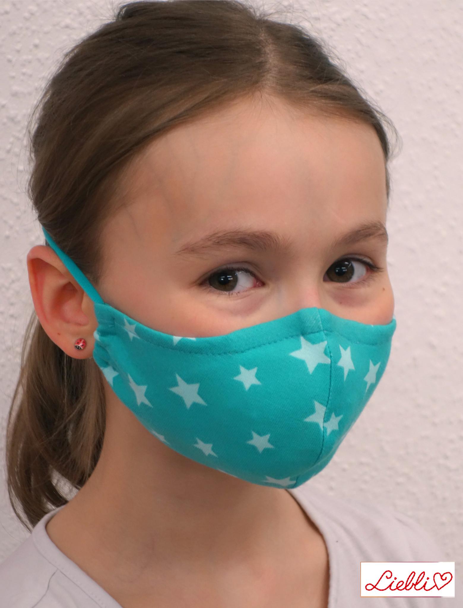 Schöne Stoffmaske, bunte Kindermaske, Sterne türkis (auch für Erwachsene)