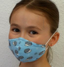 Kindermaske, Stoffmaske, Mund-Maske Igel hellblau