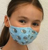 Schöne Stoffmasken, bunte Kindermaske, Igel hellblau (auch für Erwachsene)