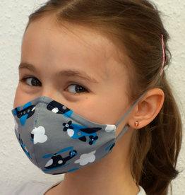 Kindermaske, Stoffmaske, Mund-Maske Flugzeuge grau blau