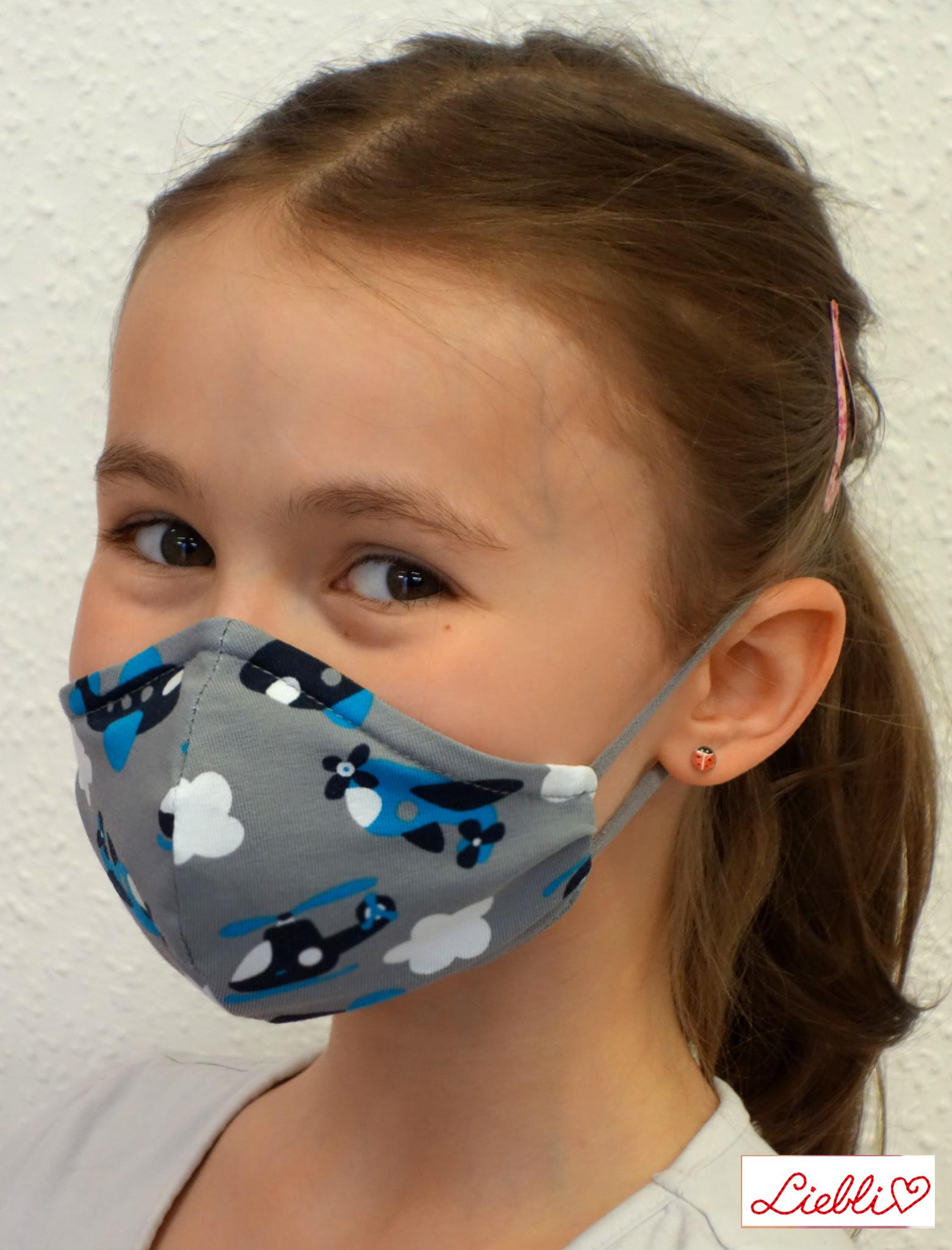 Kindermaske, Kinder Mundschutz, Mund-Nasen-Maske Flugzeuge grau blau