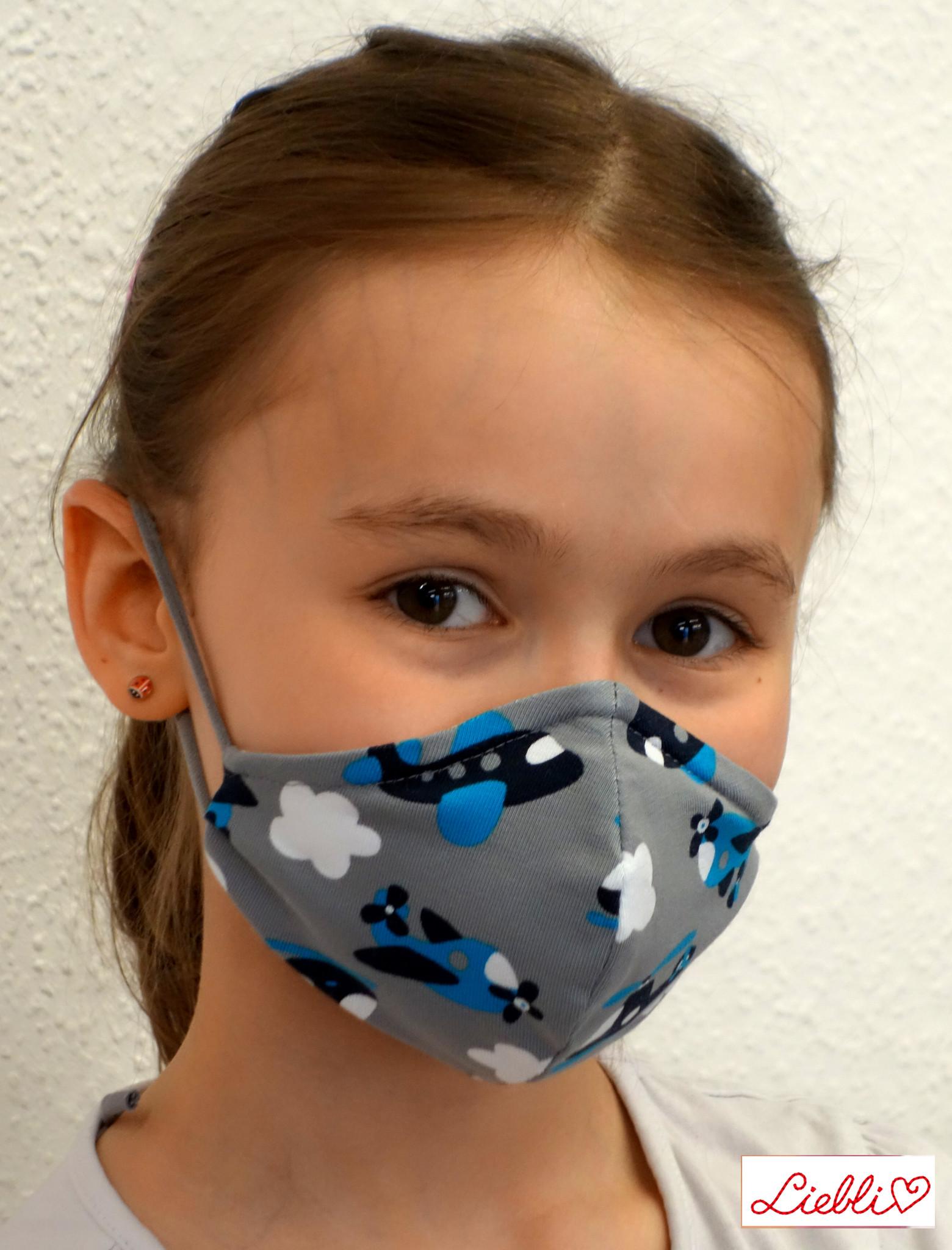 Stoffmaske für Kinder und Erwachsene, Flugzeuge grau blau