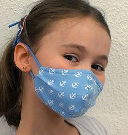 Kindermaske, Stoffmaske, Mund-Maske Anker hellblau