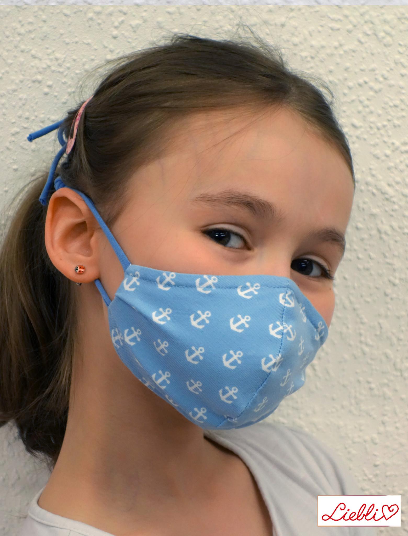 Kindermaske, Kinder Mundschutz, Mund-Nasen-Maske Anker hellblau