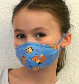 Kindermaske, Stoffmaske, Mund-Maske Waldtiere hellblau