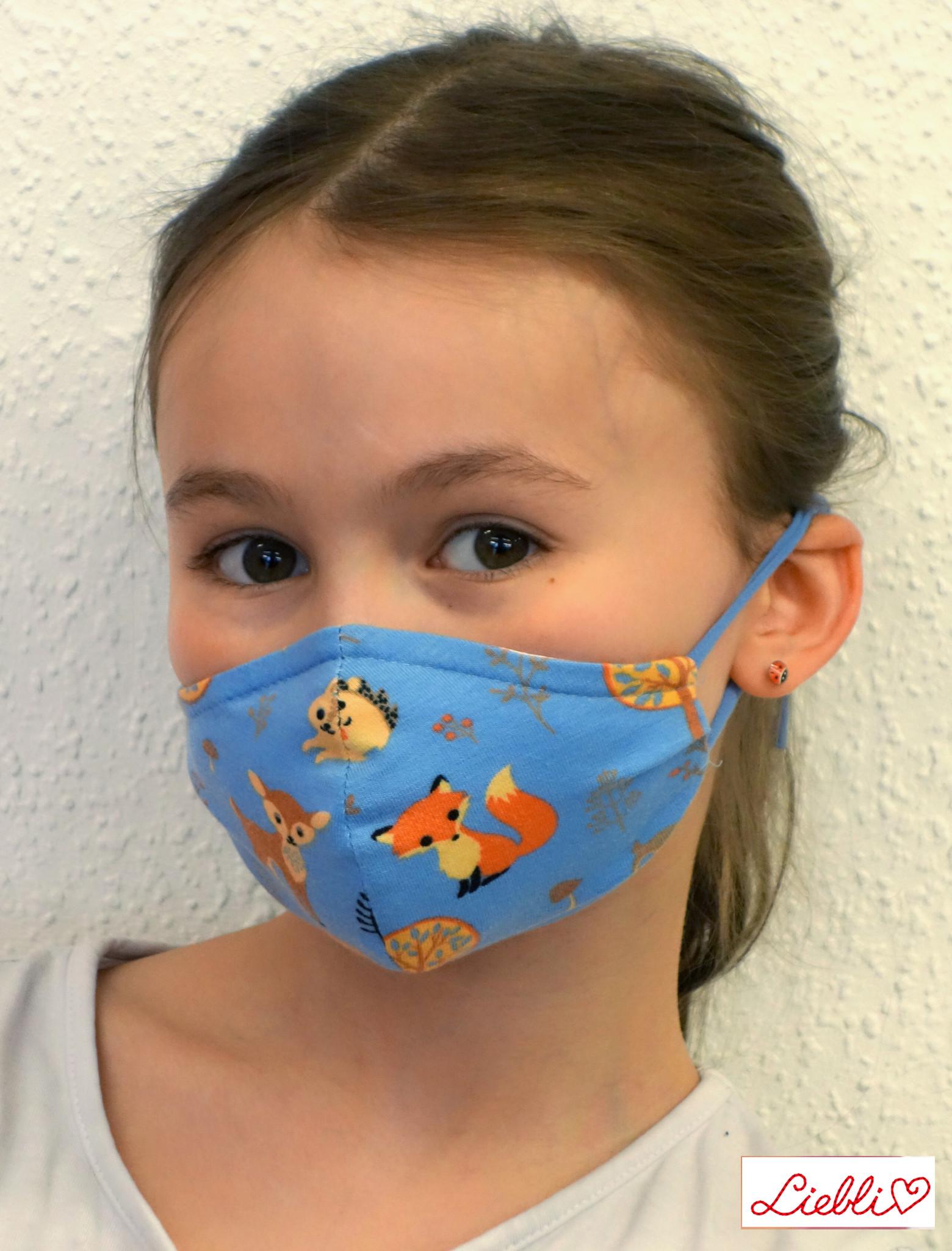 Stoffmaske für Kinder und Erwachsene, Waldtiere hellblau