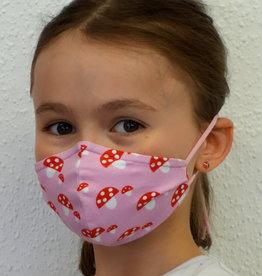 Kindermaske, Stoffmaske, Mund-Maske Glückspilz rosa