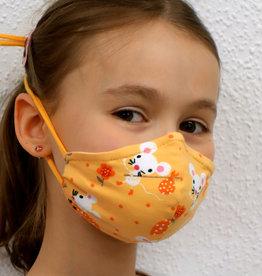 Kindermaske, Stoffmaske, Mund-Maske Maus gelb