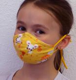 Stoffmaske für Kinder und Erwachsene, Mäuse gelb
