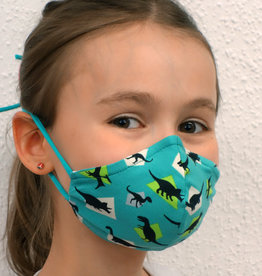 Kindermaske, Stoffmaske, Mund-Maske Dino türkis