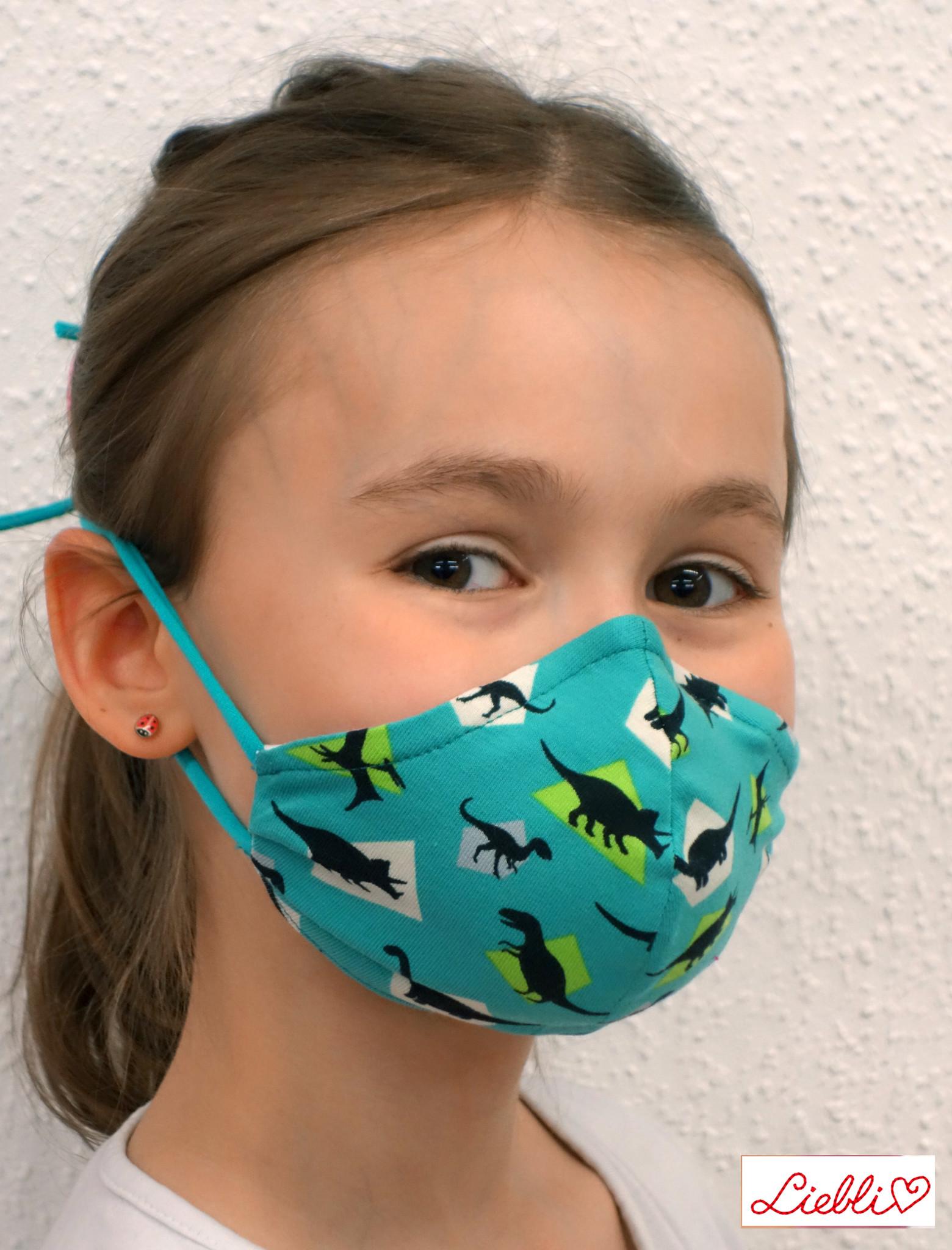 Stoffmaske für Kinder und Erwachsene, Dino türkis