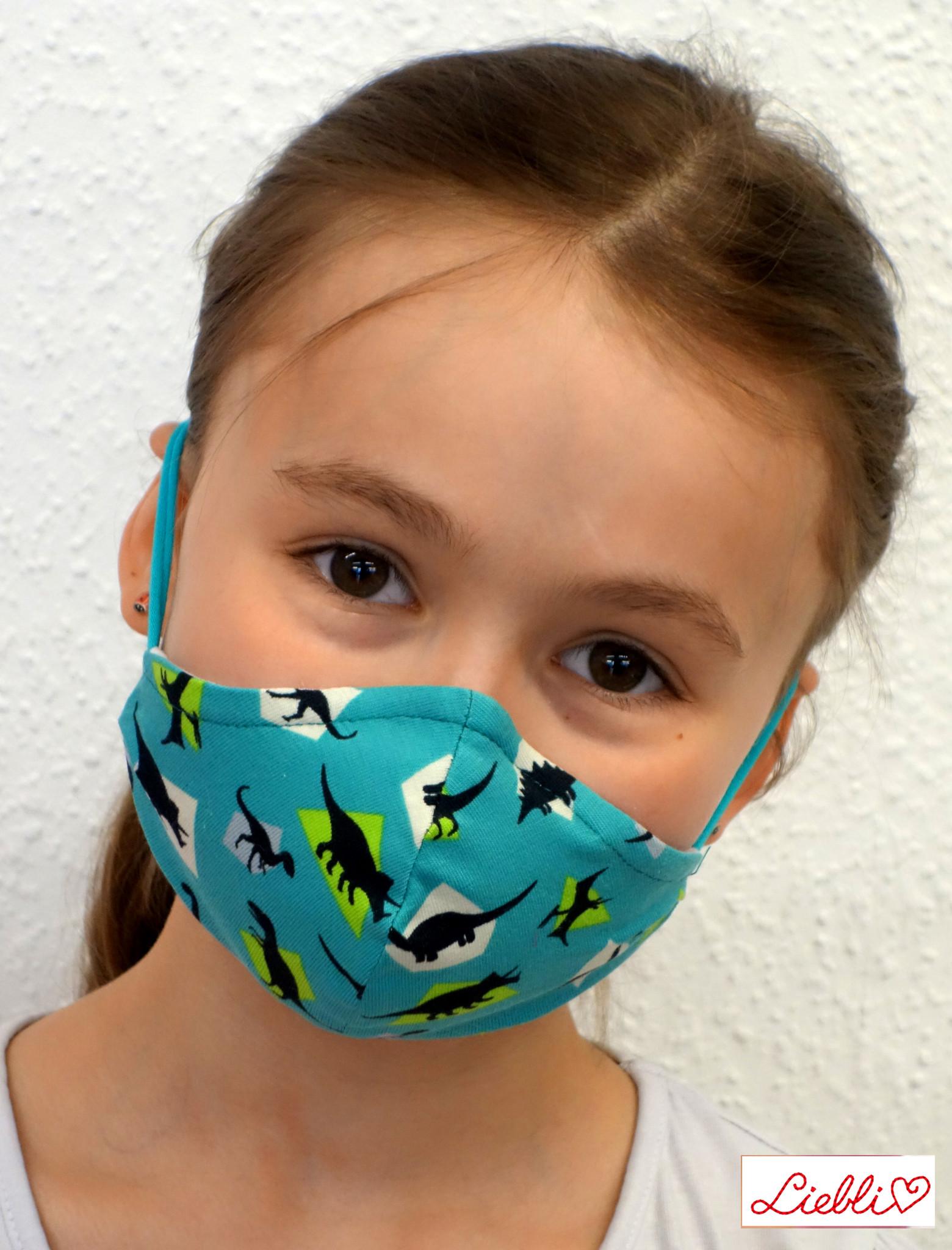 Kindermaske, Kinder Mundschutz, Mund-Nasen-Maske Dino türkis