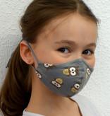 Stoffmaske für Kinder und Erwachsene,  Eule grau