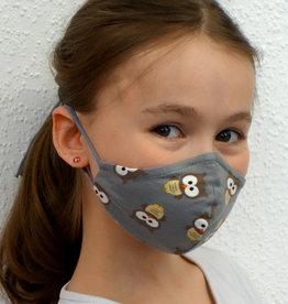 Kindermaske, Stoffmaske, Mund-Maske Eule grau
