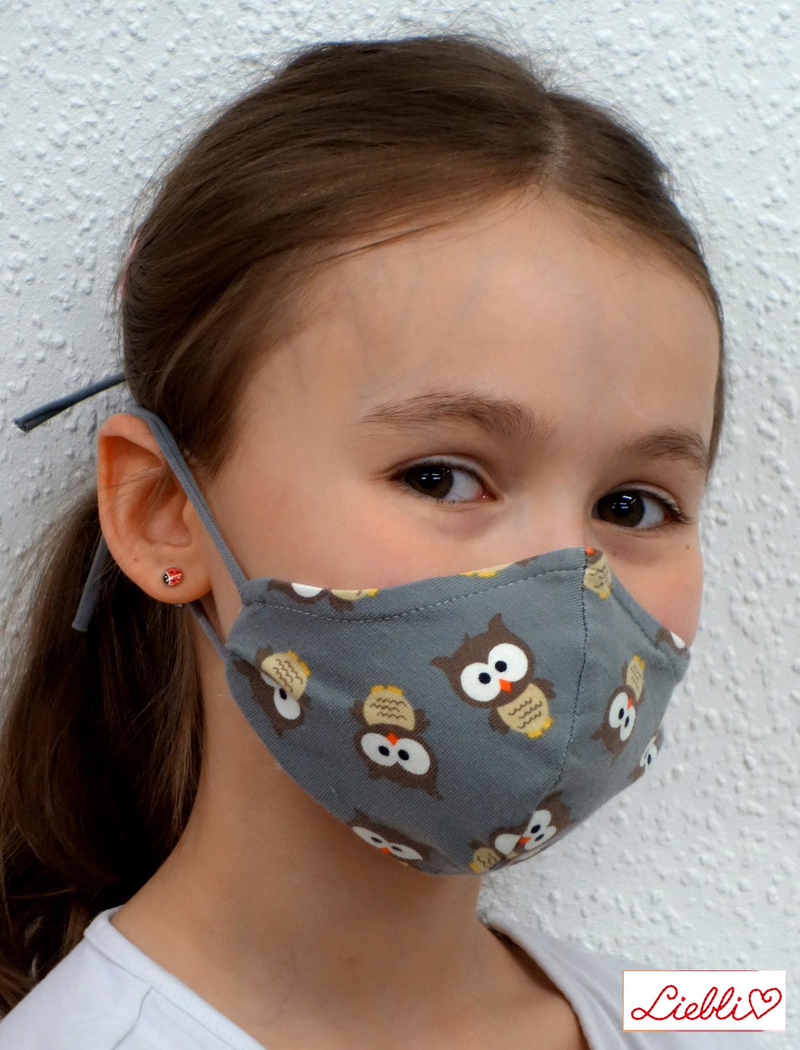 Kindermaske, Kinder Mundschutz, Mund-Nasen-Maske   Eule grau