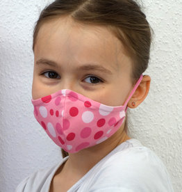 Kindermaske, Stoffmaske, Mund-Maske Punkte pink rosa