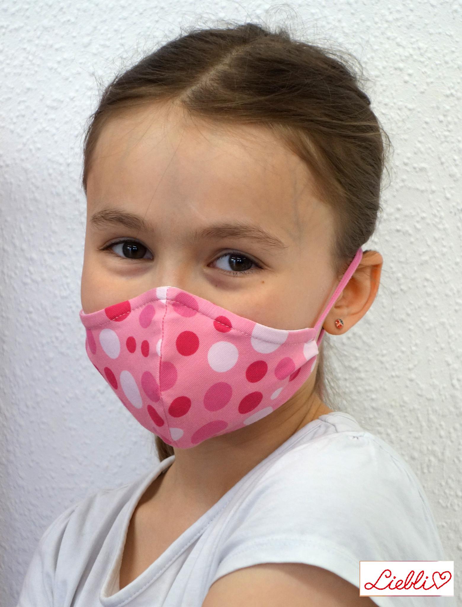 Kindermaske, Kinder Mundschutz, Mund-Nasen-Maske Punkte pink rosa