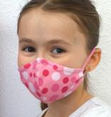 Stoffmaske für Kinder und Erwachsene, Punkte pink rosa