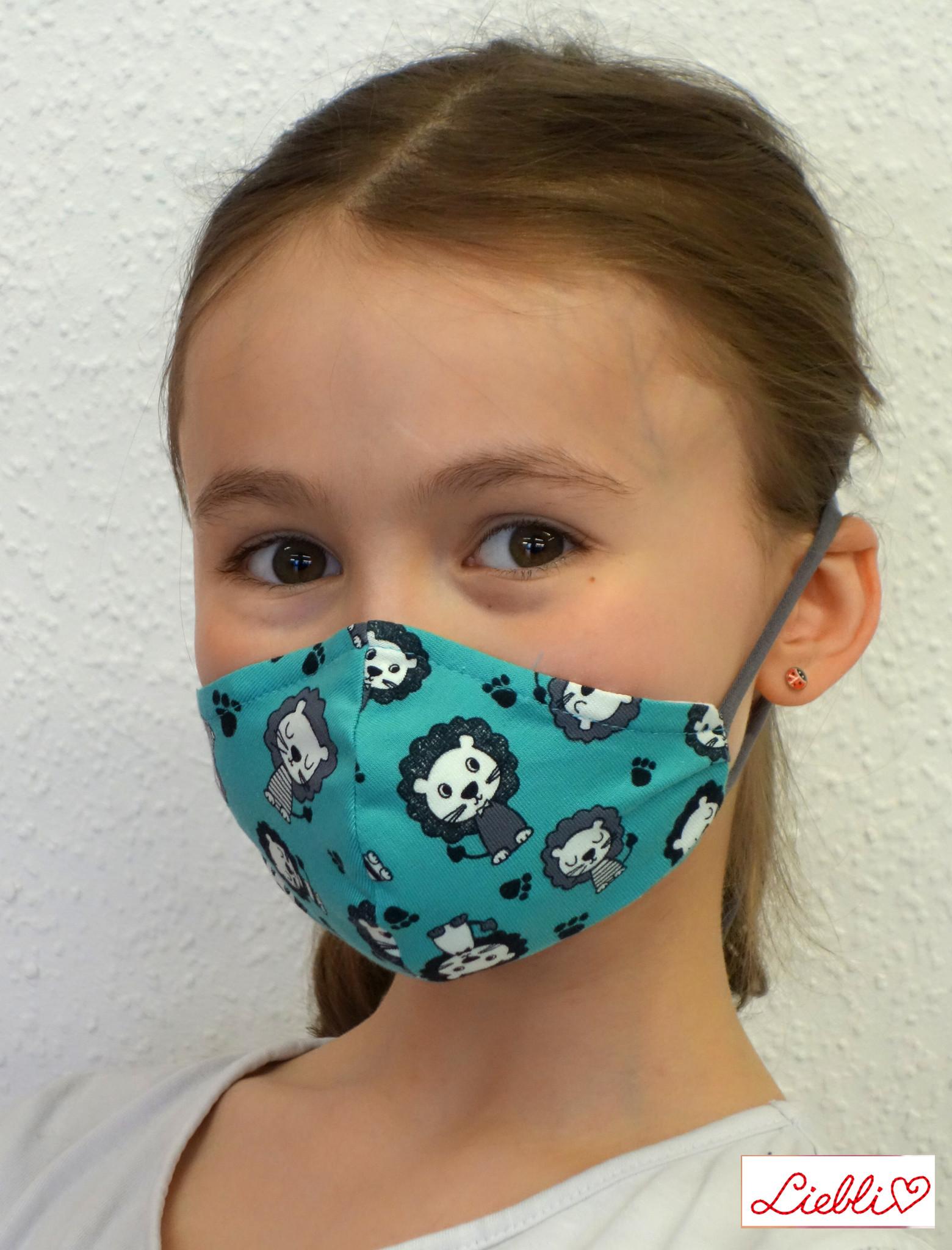 Stoffmaske für Kinder und Erwachsene, Löwen türkis