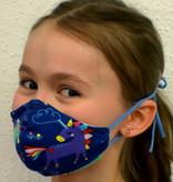Stoffmaske für Kinder und Erwachsene, Einhorn dunkelblau