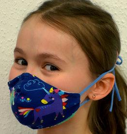 Kindermaske, Stoffmaske, Mund-Maske Einhorn dunkelblau
