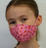 Kindermaske, Kinder Mundschutz, Mund-Nasen-Maske Erdbeere rosa