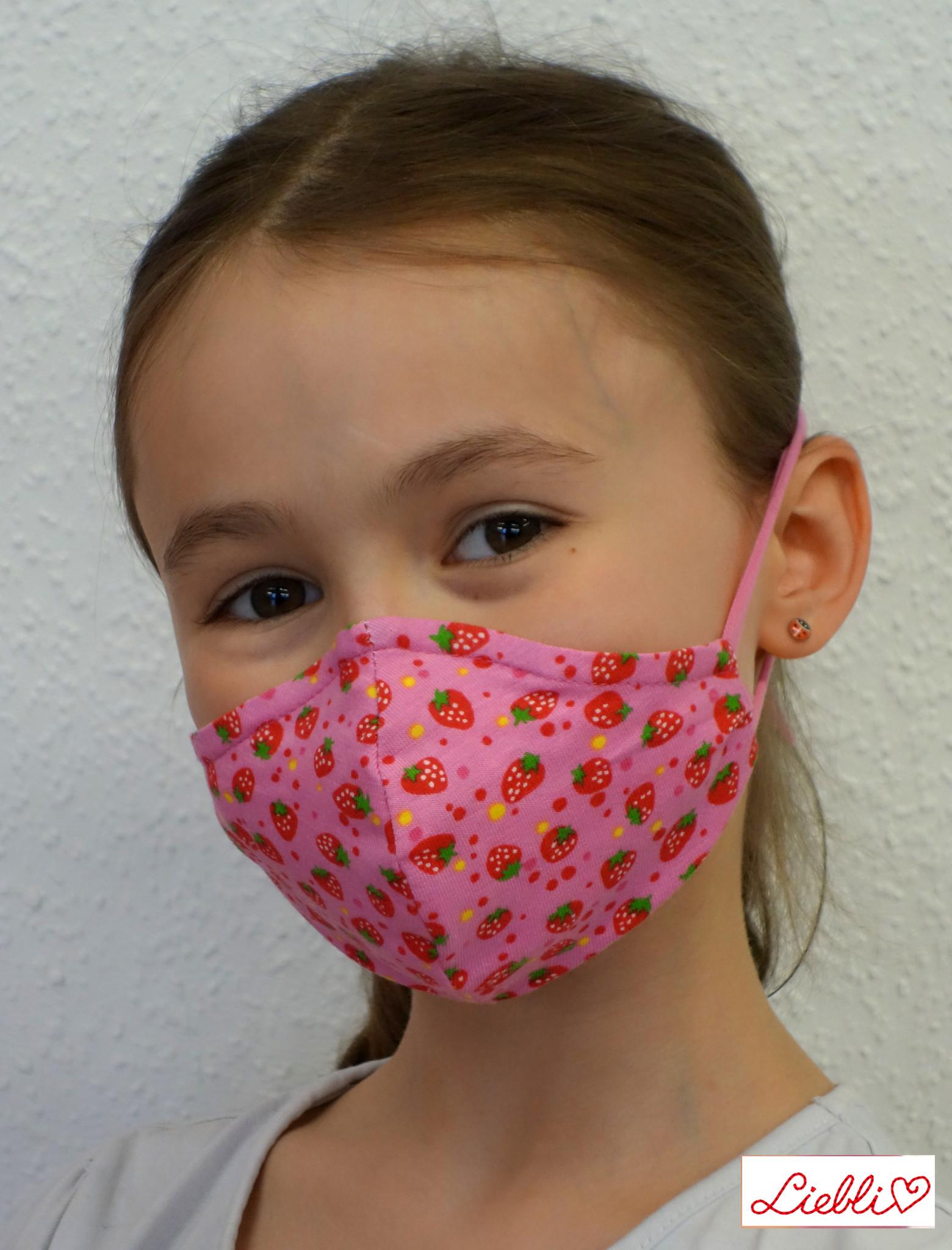 Stoffmaske für Kinder und Erwachsene, Erdbeere rosa