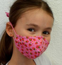 Kindermaske, Stoffmaske, Mund-Maske Erdbeere rosa