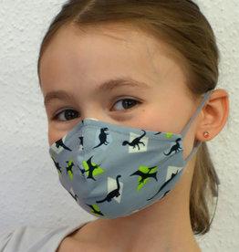 Kindermaske, Stoffmaske, Mund-Maske Dino grau