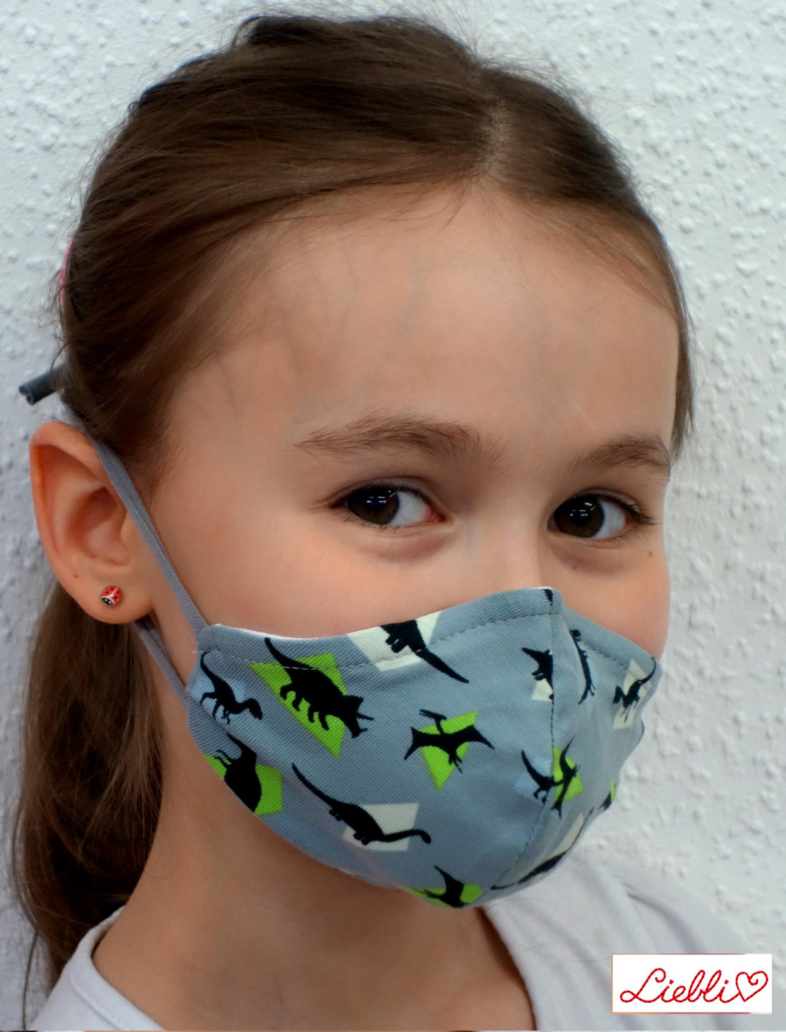 Kindermaske, Kinder Mundschutz, Mund-Nasen-Maske Dino grau