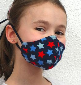 Kindermaske, Stoffmaske, Mund-Maske Sterne blau rot