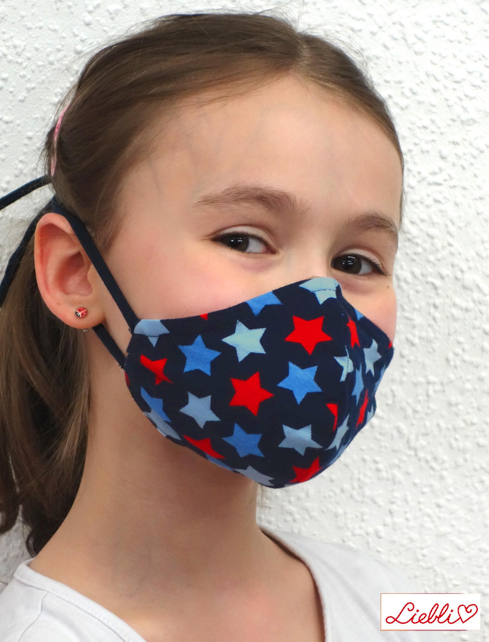 Stoffmaske für Kinder und Erwachsene, Sterne blau rot
