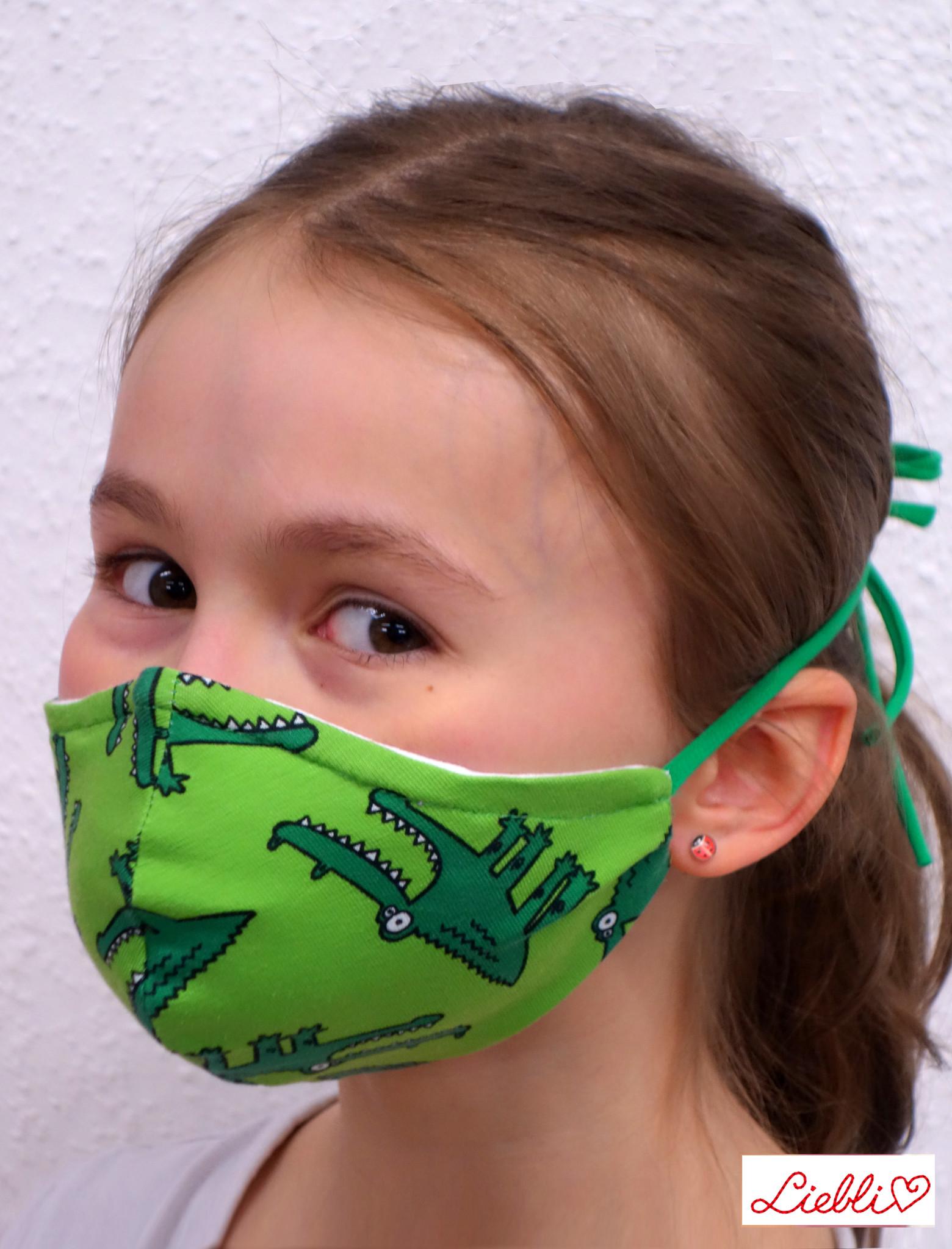 Stoffmaske für Kinder und Erwachsene, Krokodil grün