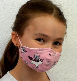 Kindermaske, Stoffmaske, Mund-Maske Einhorn rosa