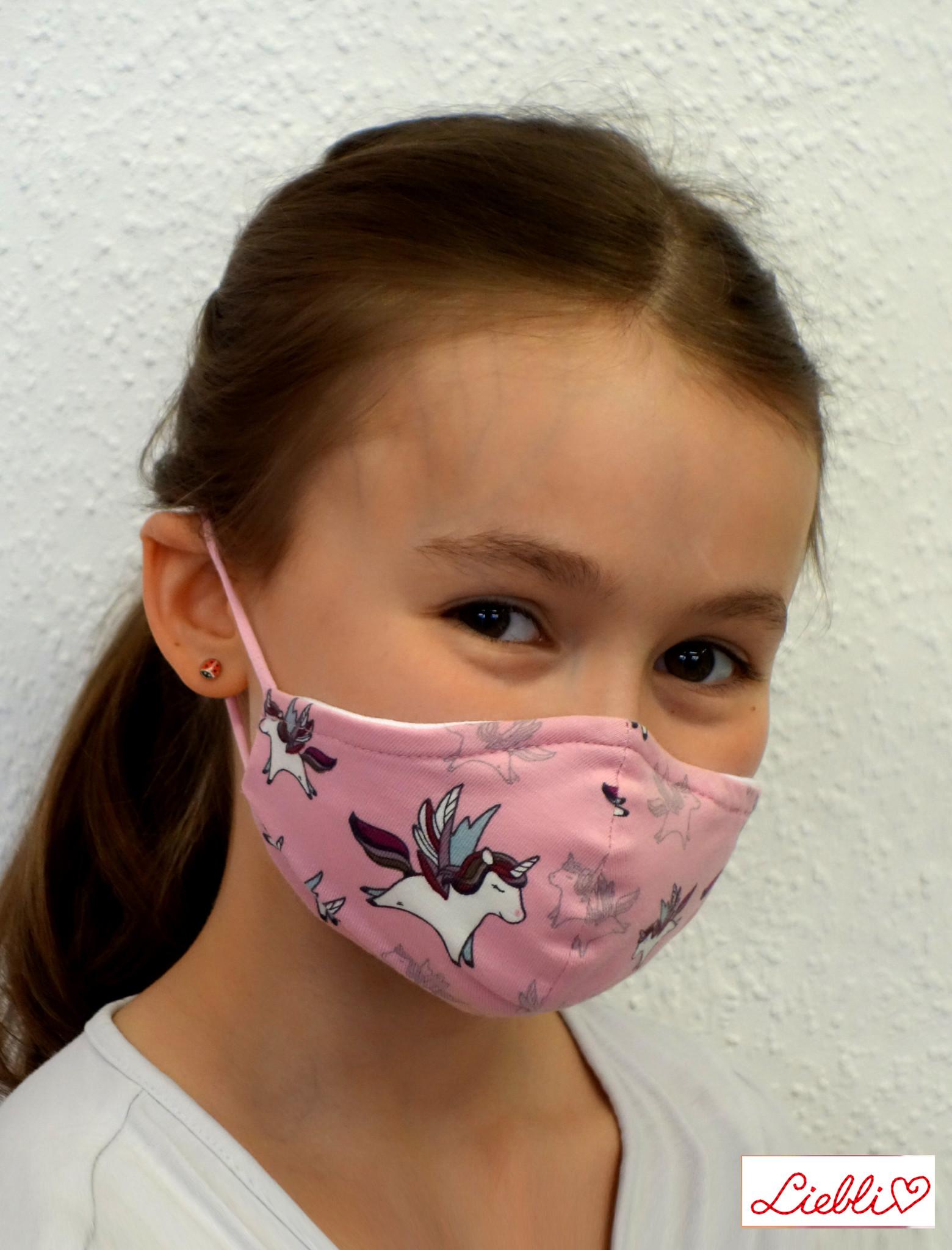 Kindermaske, Kinder Mundschutz, Mund-Nasen-Maske Einhorn rosa