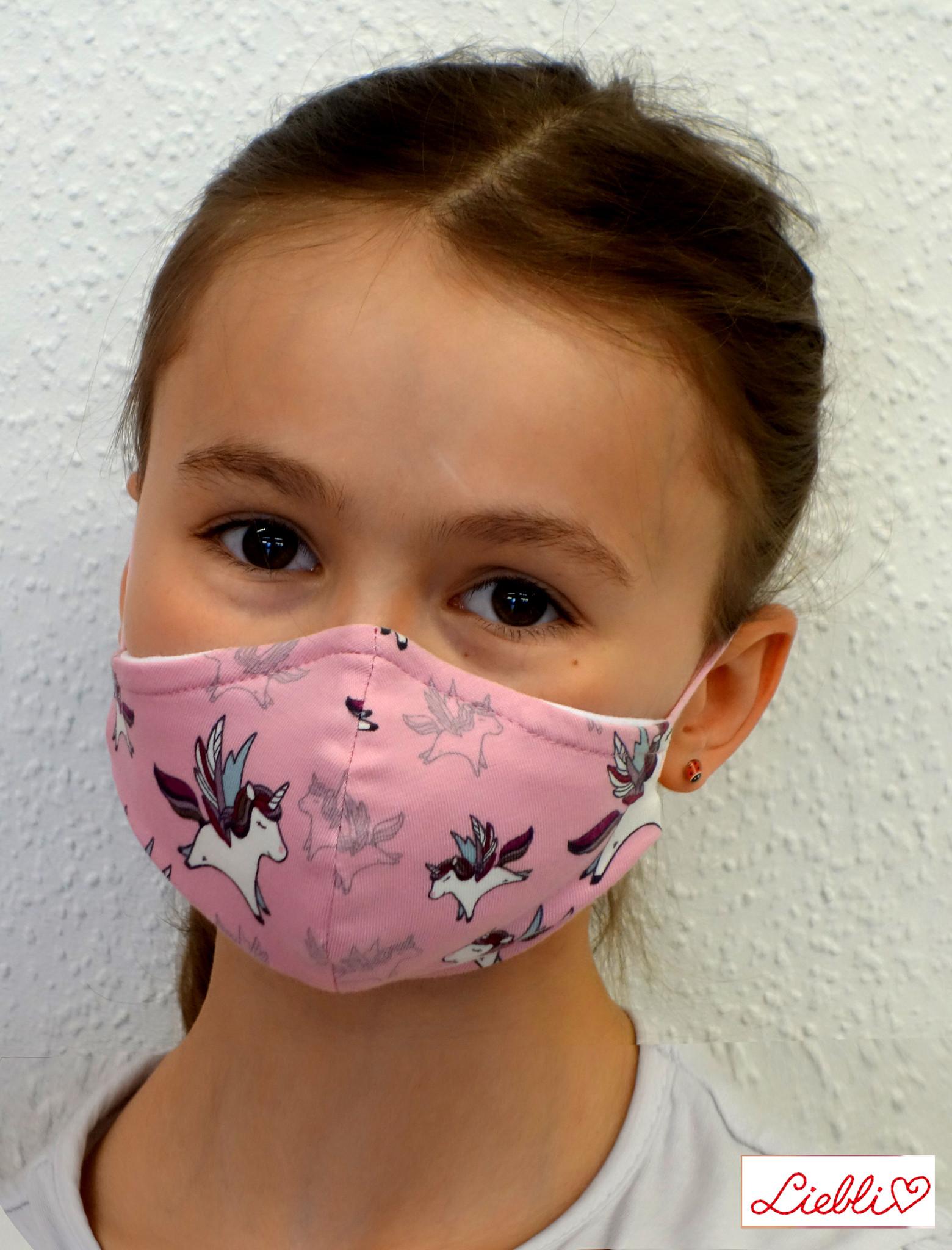 Stoffmaske für Kinder und Erwachsene, Einhorn rosa