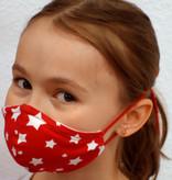 Stoffmaske für Kinder und Erwachsene, weiße Sterne auf rot