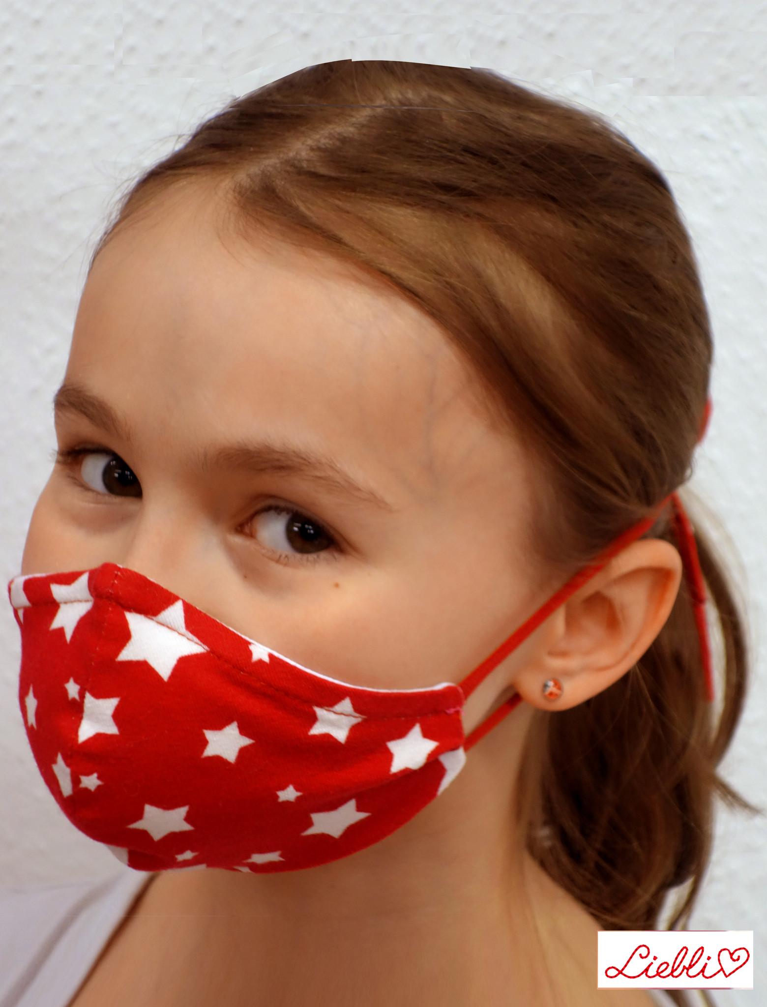 Kindermaske, Kinder Mundschutz, Mund-Nasen-Maske weiße Sterne auf rot