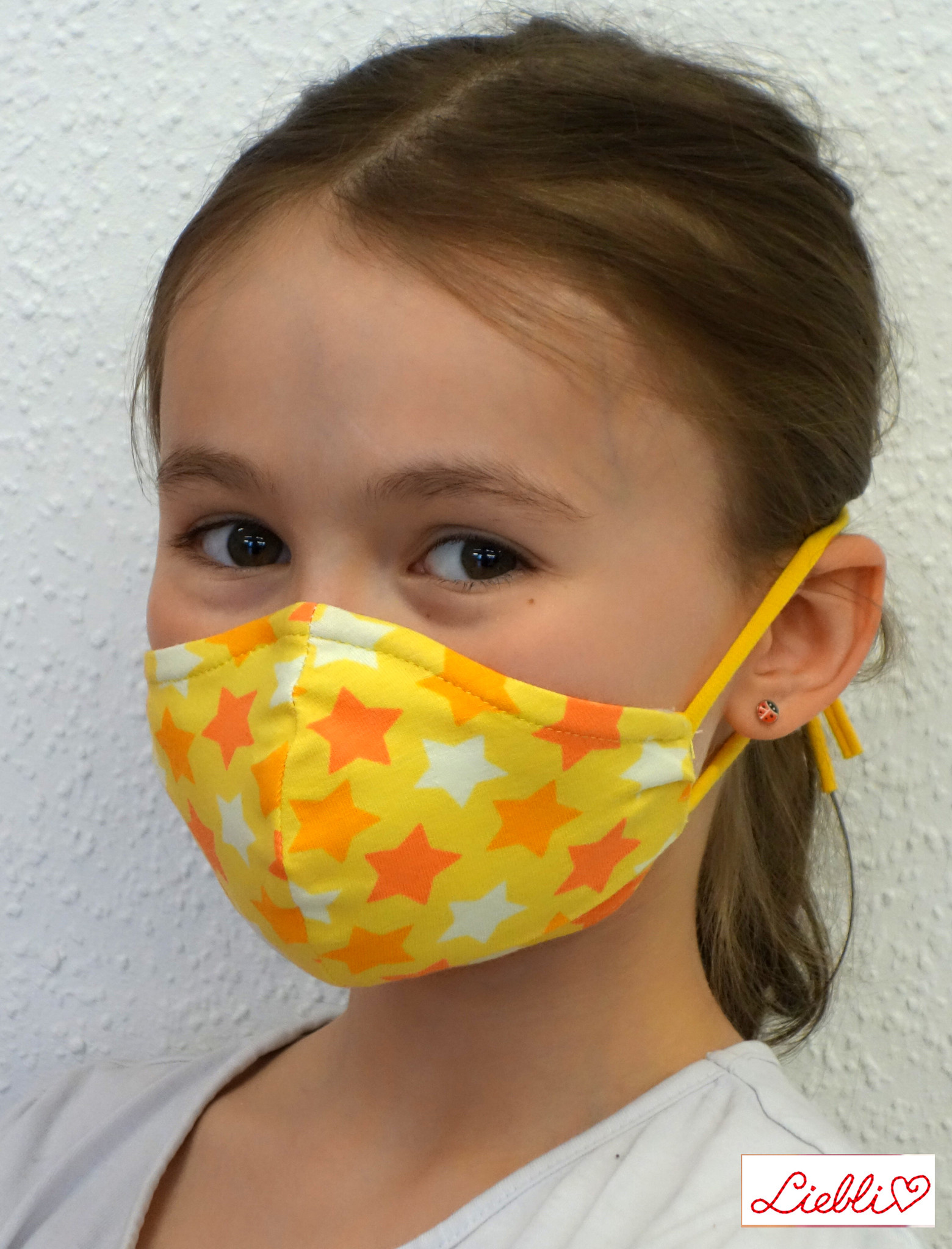 Kindermaske, Kinder Mundschutz, Mund-Nasen-Maske Sterne gelb