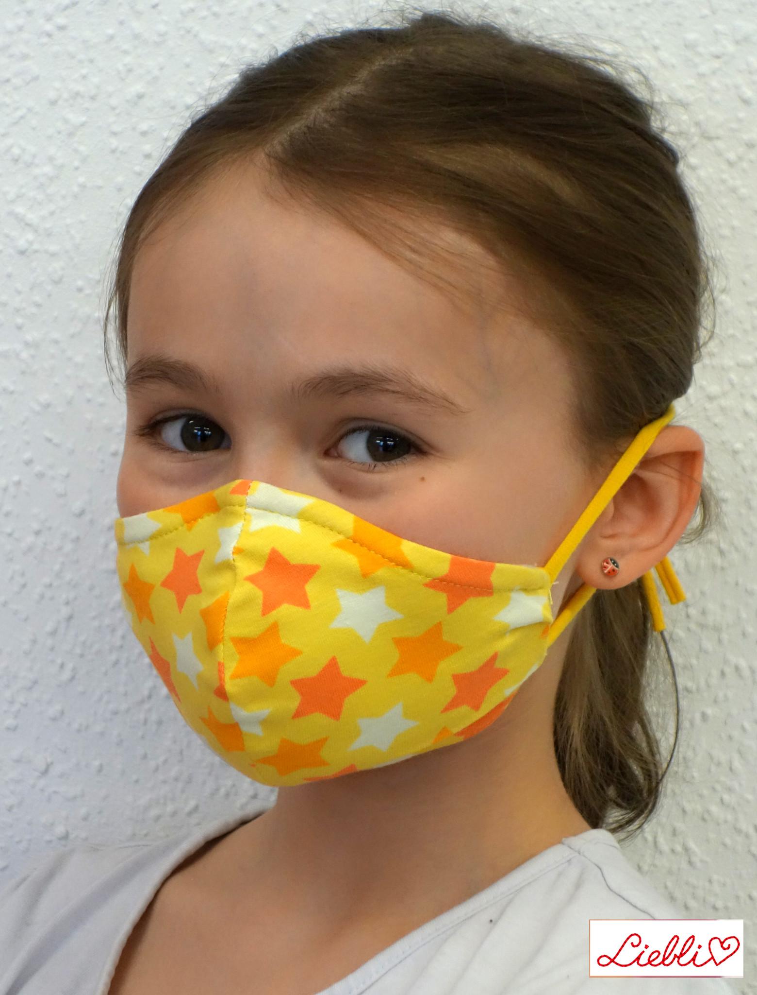 Stoffmaske für Kinder und Erwachsene, Sterne gelb