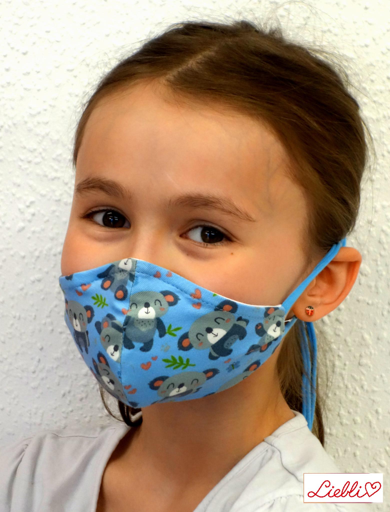 Stoffmaske für Kinder und Erwachsene, Koalabär hellblau