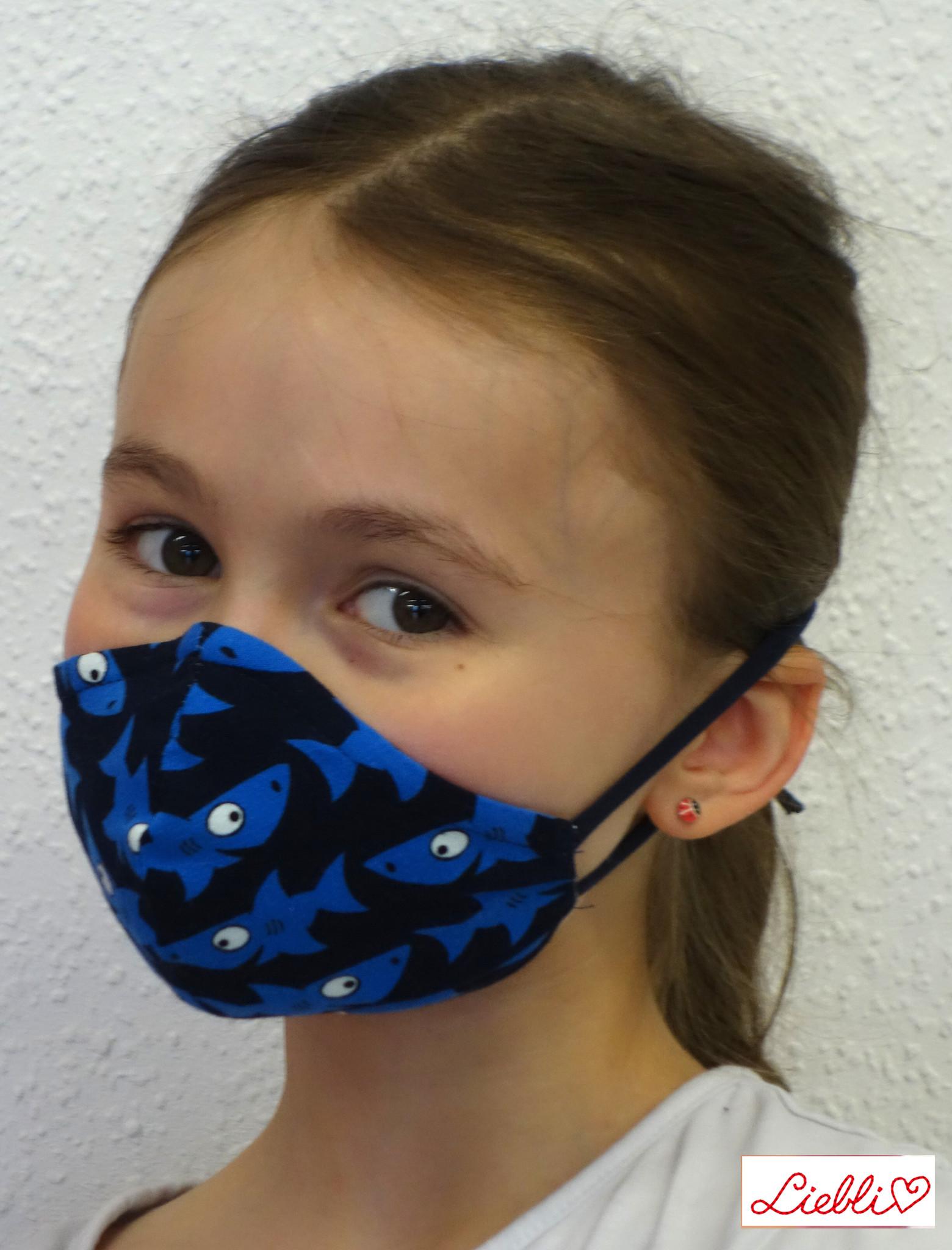 Kindermaske, Kinder Mundschutz, Mund-Nasen-Maske  Haifische dunkelblau