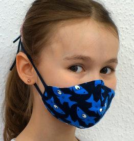 Kindermaske, Stoffmaske, Mund-Maske Haifische dunkelblau