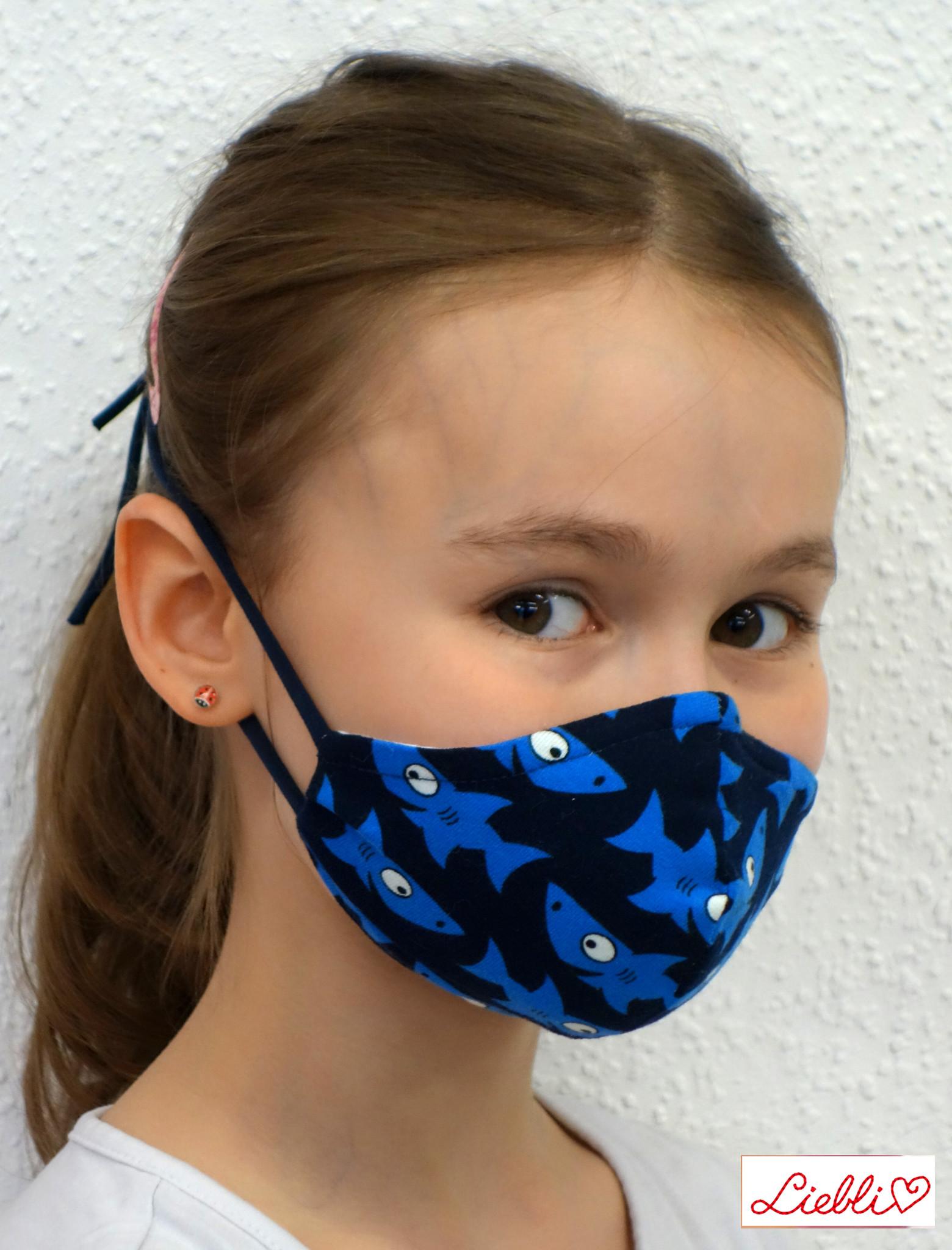 Stoffmaske für Kinder und Erwachsene, Haifische dunkelblau
