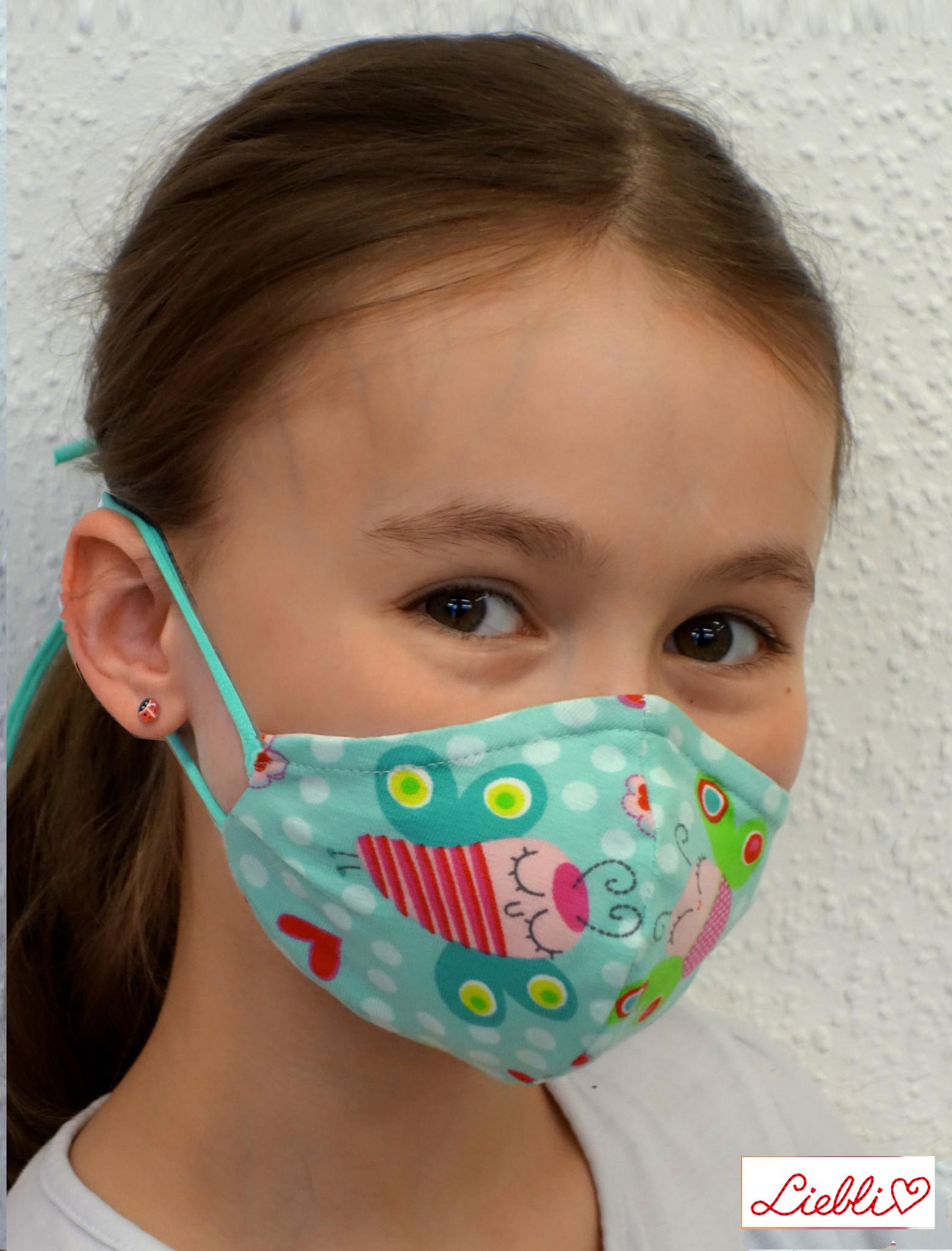 Stoffmaske für Kinder und Erwachsene, Schmetterlinge mint