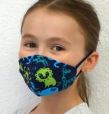 Stoffmaske für Kinder und Erwachsene, Zootiere dunkelblau