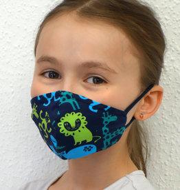 Kindermaske, Stoffmaske, Mund-Maske Zootiere dunkelblau
