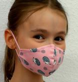 Stoffmaske für Kinder und Erwachsene, Igel rosa